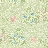 Morris Larkspur Green / Pink / Blue Wallpaper