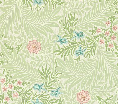 Morris Larkspur Green / Pink / Blue Wallpaper main image