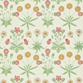 Morris Daisy Pink / Yellow / Green Wallpaper