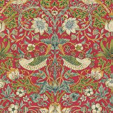 Morris Strawberry Thief Red / Green Wallpaper