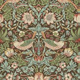 Morris Strawberry Thief Brown Multi Wallpaper