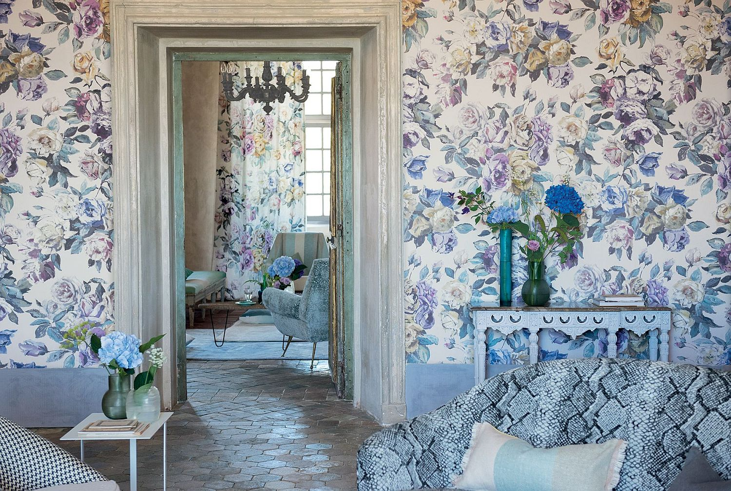 Designers Guild Viola Heather Ochre Wallpaper Main Image