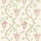 Sanderson Asami Embroidery Coral / Green Fabric - Product code: 232313