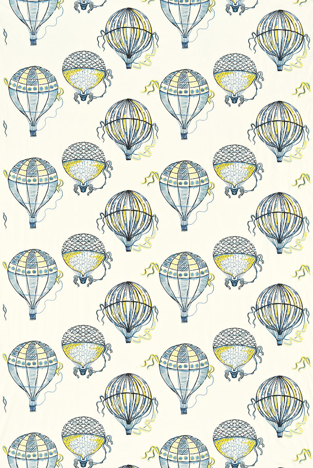 Sanderson Beautiful Balloons Blue / Yellow Fabric - Product code: 232297