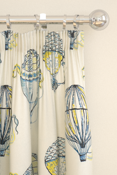 Sanderson Beautiful Balloons Blue / Yellow Curtains - Product code: 232297