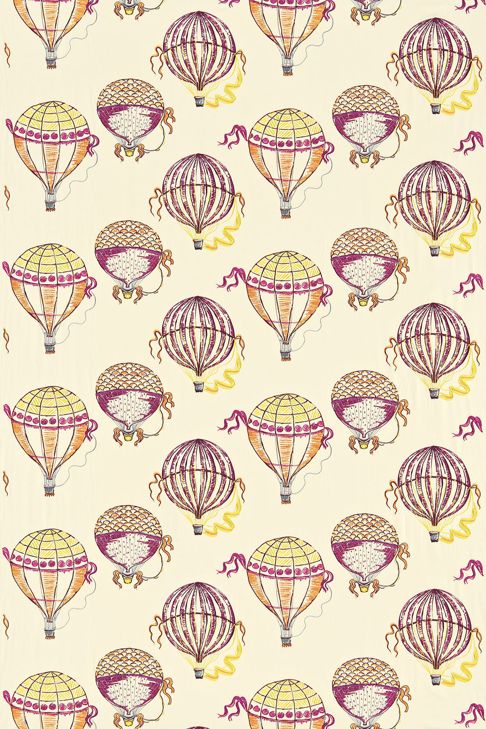 Sanderson Beautiful Balloons Pink / Orange / Yellow Fabric - Product code: 232300