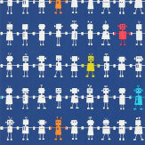 Harlequin Reggie Robot Navy Wallpaper