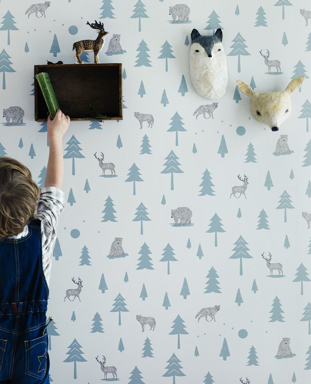 Into The Wild Wallpaper - Grey / Green - by Hibou Home