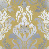 Kandola New Ikat Wallpaper Mustard / Grey / White