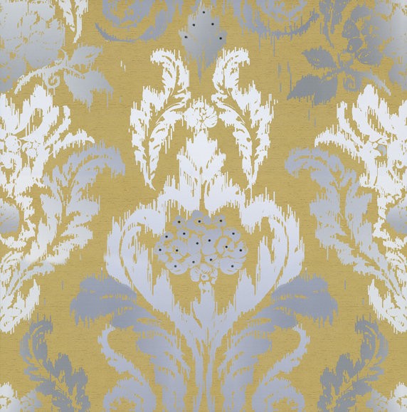 New Ikat Wallpaper By Kandola Mustard Grey White