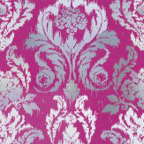 Kandola New Ikat Wallpaper Fuchsia / Grey