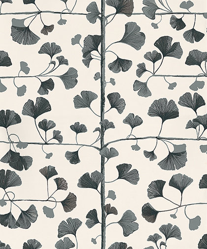 Ginkgo by sandberg black cream wallpaper direct for Black and cream wallpaper
