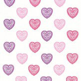 Harlequin Sweet Hearts Pink / Purple Fabric