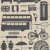 Graduate Collection Airfix London Taupe Black / Taupe Wallpaper