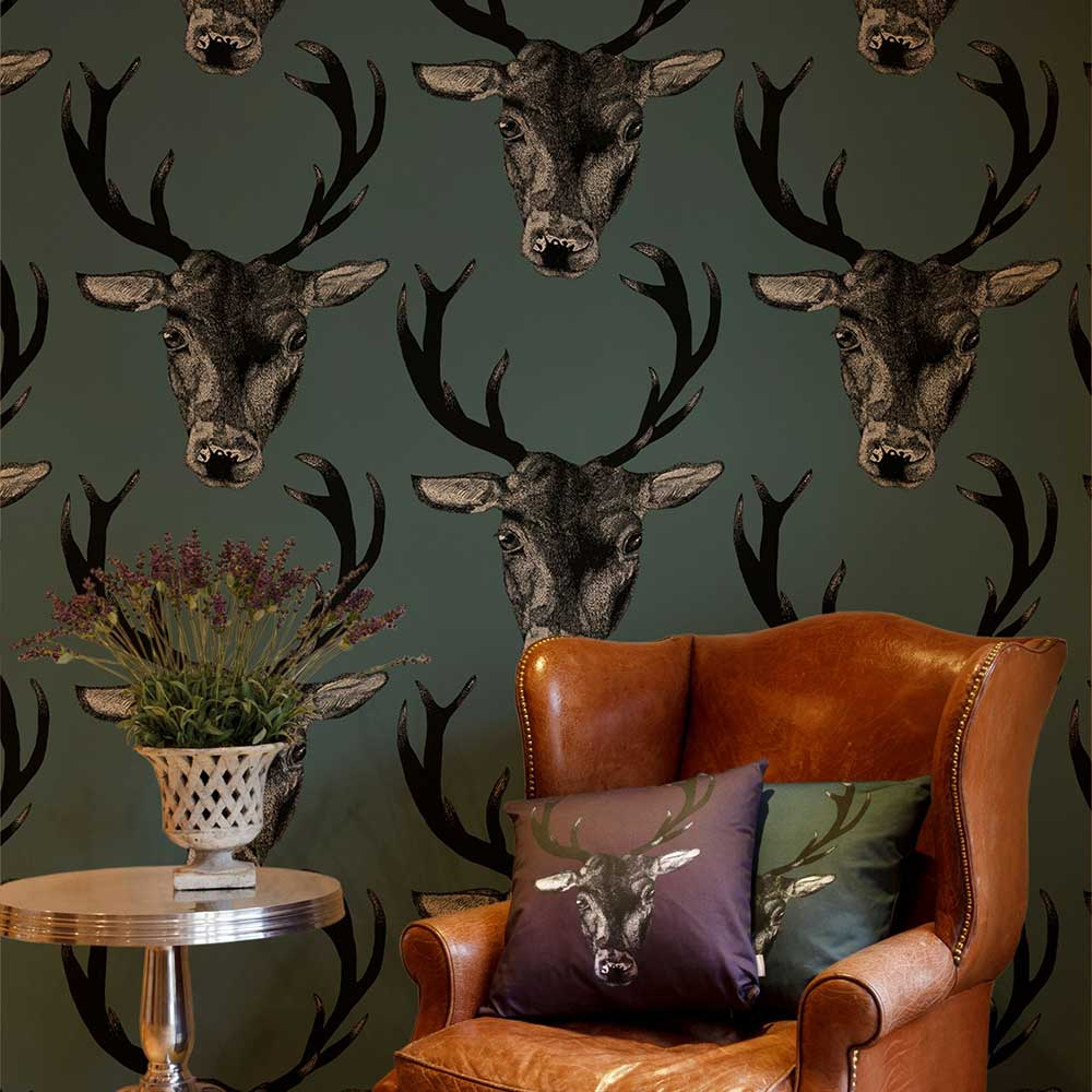 Stag Head Teal Wallpaper - by Graduate Collection