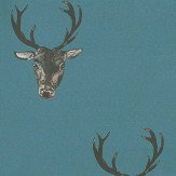 Graduate Collection Stag Print Teal Wallpaper
