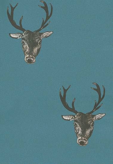 Graduate Collection Stag Print Teal Wallpaper - Product code: 26220
