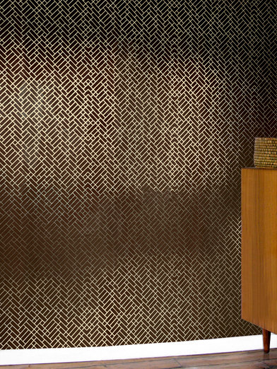 Tapet Cafe Tile 001 Wallpaper - Brown / Gold - by Erica Wakerly