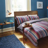 Harlequin Array Stripe Super King Size Duvet Blue Multi-Colour Duvet Cover
