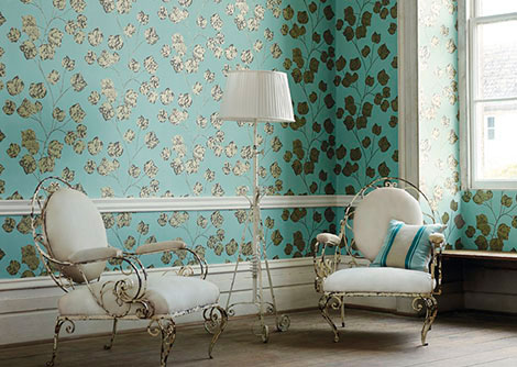 Harlequin Bonica Lagoon / Charcoal / Gold Wallpaper
