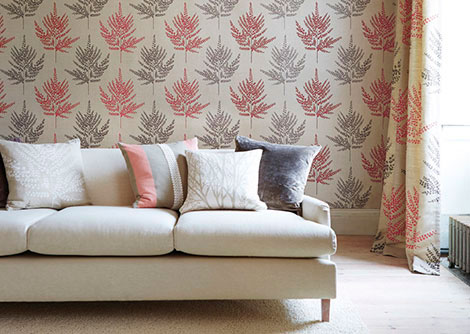 Harlequin Folium Coral / Gilver / Chocolate Wallpaper