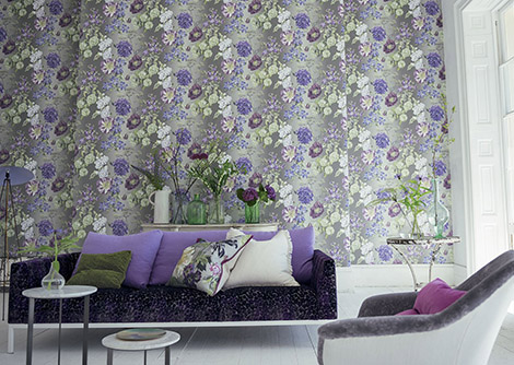 Designers Guild Alexandria Amethyst Purple / Green / Grey Wallpaper