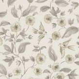 Sanderson Bird Blossom Charcoal / Gilver Wallpaper