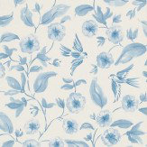 Sanderson Bird Blossom Blue Wallpaper