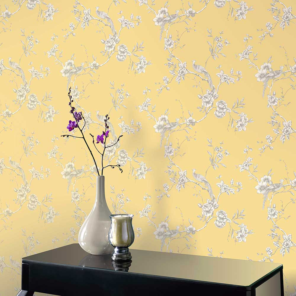 Chinoise Wallpaper - Yellow - by Arthouse