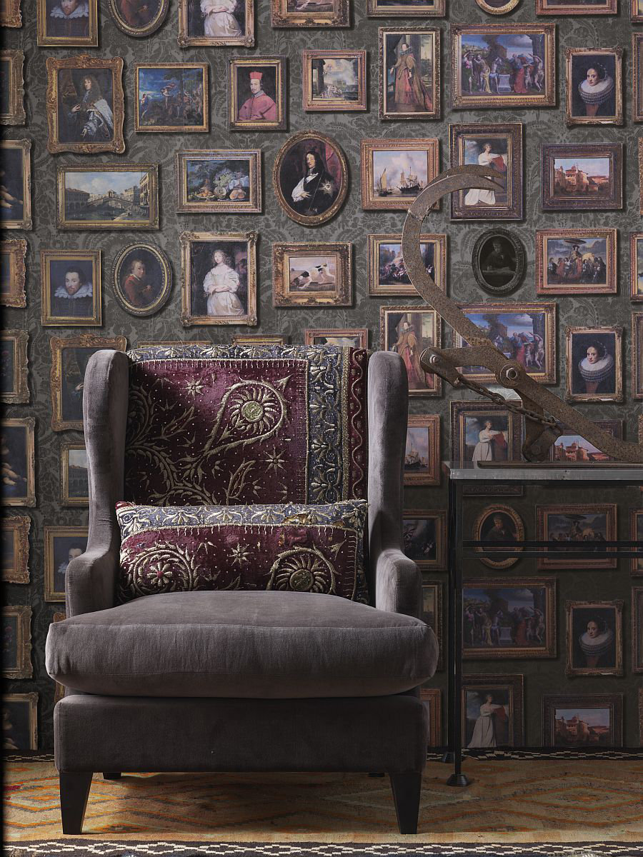 Gallery Charcoal Wallpaper - by Andrew Martin