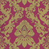 Matthew Williamson Pegasus Metallic Gold / Cerise / Turquoise Wallpaper - Product code: W6540-01