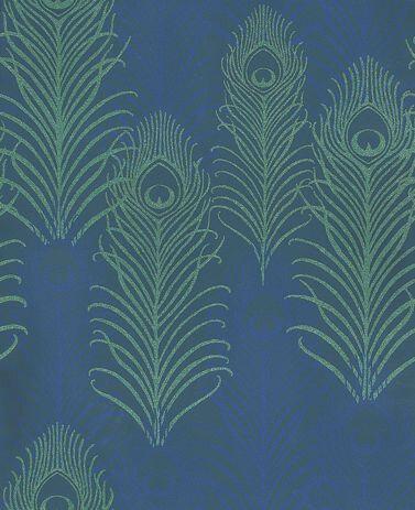 Matthew Williamson Peacock Jade / Midnight Blue Wallpaper - Product code: W6541-01