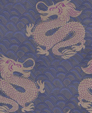 Matthew Williamson Celestial Dragon Blue / Amethyst / Metallic Gold Wallpaper - Product code: W6545-03