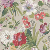 Nina Campbell Rosslyn  Red / Pink / Green Wallpaper