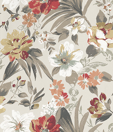 Nina Campbell Rosslyn Coral / Red / Charcoal Wallpaper main image