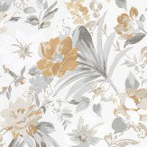 Nina Campbell Rosslyn Grey / Beige / Mustard Wallpaper