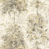 Nina Campbell Lochwood Charcoal / Gold Wallpaper