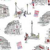 Albany London Theatres White / Grey / Red Wallpaper