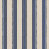 Farrow & Ball Block Print Stripe Stone / Metallic Silver / Midnight Blue Wallpaper