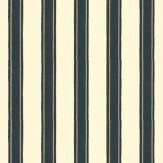 Farrow & Ball Block Print Stripe Cream / Metallic Silver / Black Wallpaper