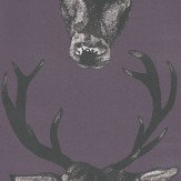 Graduate Collection Stag Head Plum Wallpaper