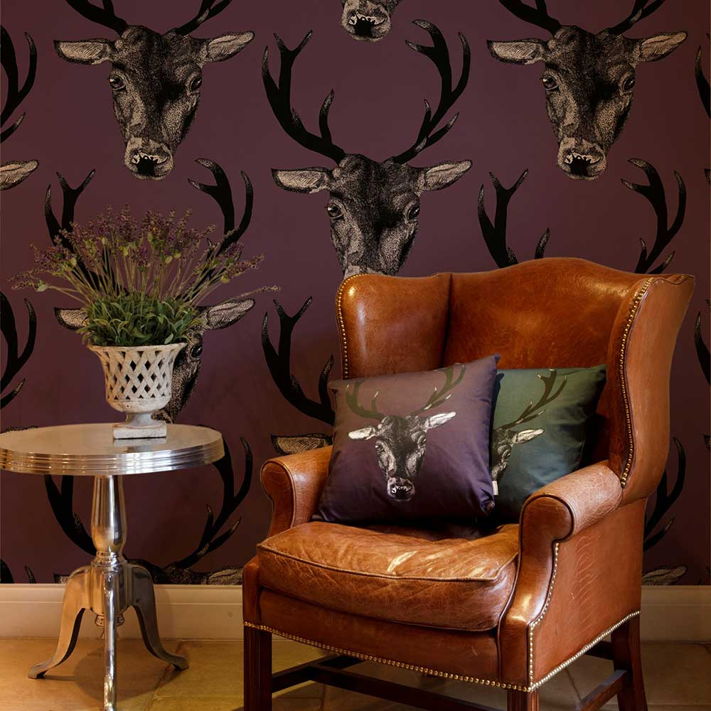 Stag Head Plum Wallpaper - by Graduate Collection