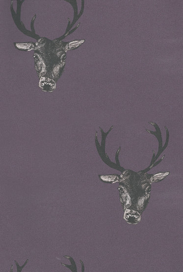 Graduate Collection Stag Print Plum Wallpaper main image