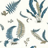 G P & J Baker Ferns Indigo / Cream Wallpaper