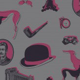 Opus Muras Bertie Pink / Black Wallpaper