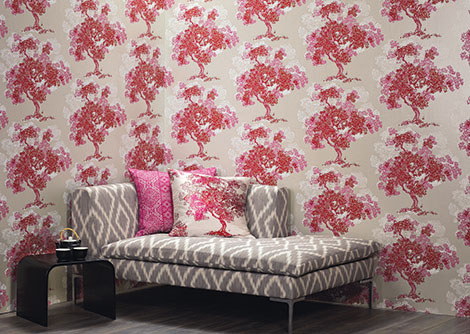 Romo Orvieto Pink / Red Wallpaper