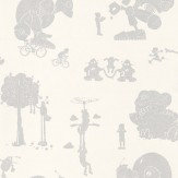 PaperBoy Brave New World White / Silver Wallpaper - Product code: BNW/WP/WHSIL