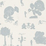 PaperBoy Brave New World Blue / White Wallpaper - Product code: BNW/WP/WHBL