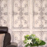 Kandola Iron Scroll Silver Wallpaper