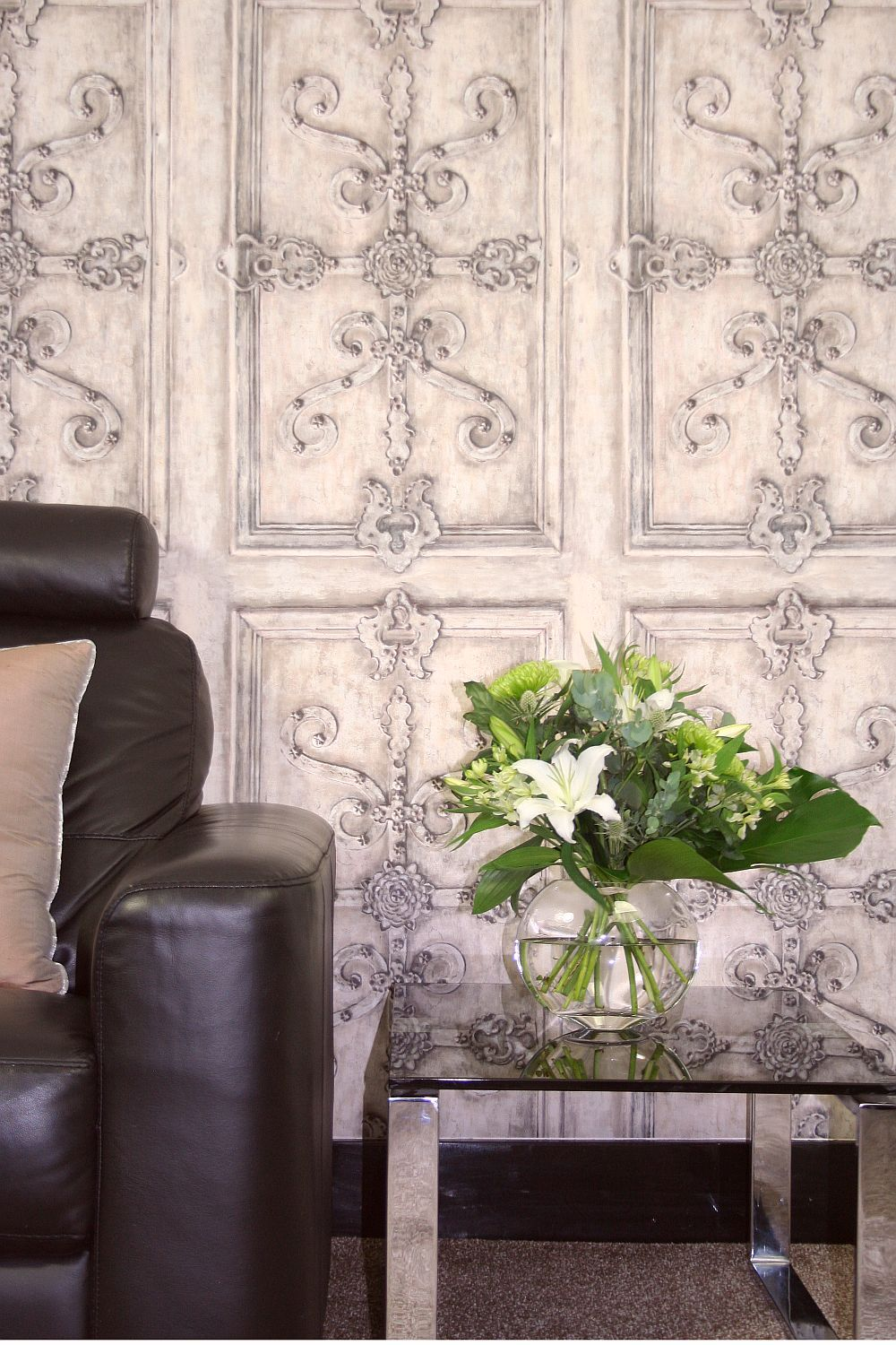 Iron Scroll By Kandola Silver Wallpaper Direct